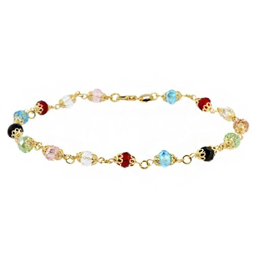 """Stunning 10"""" Multi-Color Facet Crystals and Gold Color Chain Ankle Bracelet"""