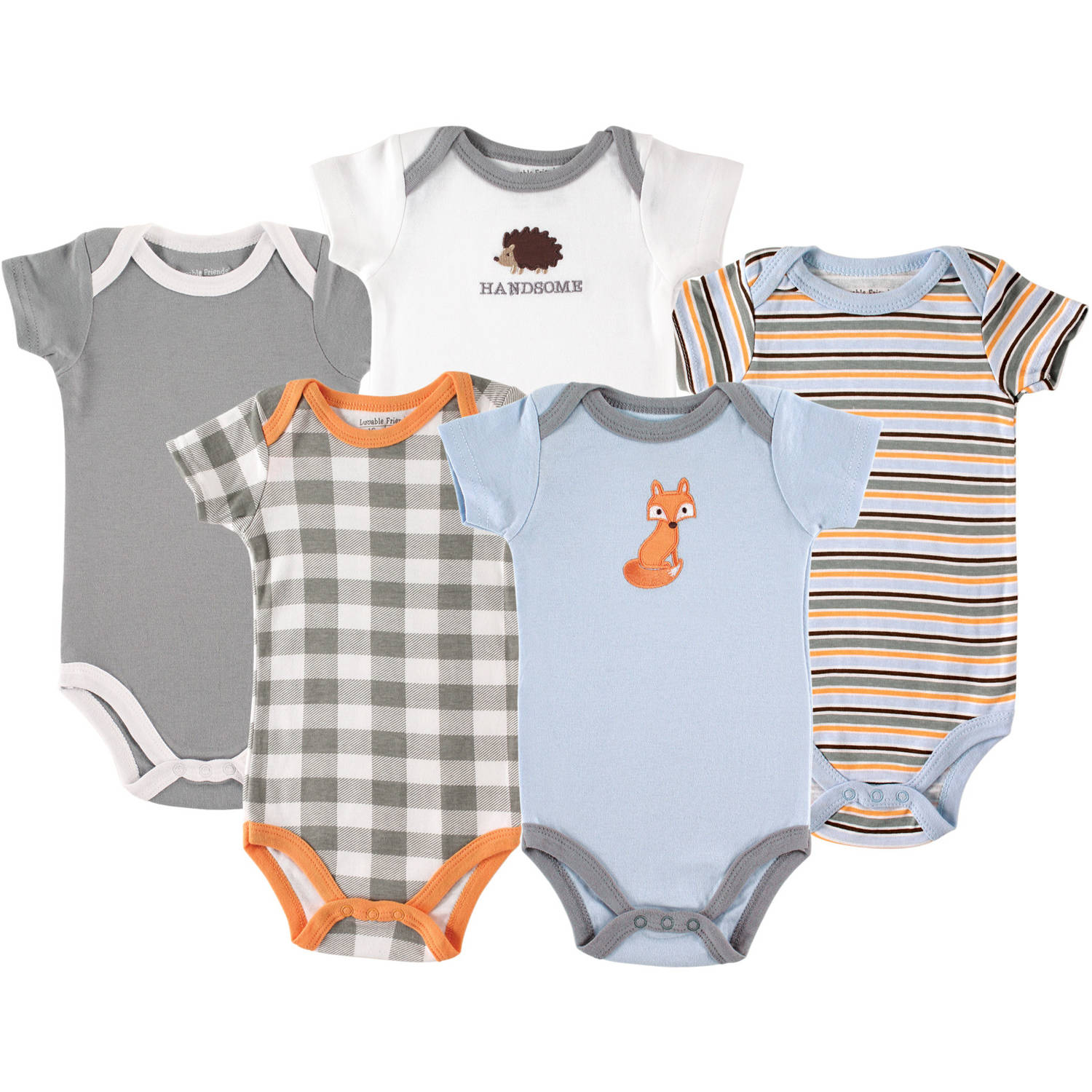 Luvable Friends Newborn Baby Boys Bodysuit 5-Pack Fox