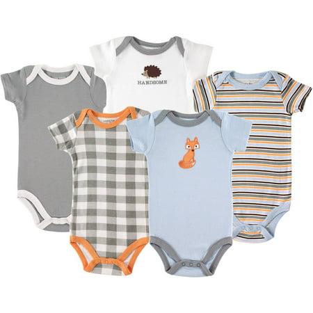 Newborn Baby Boys Bodysuit 5-Pack Fox (Congrats Message For New Born Baby Boy)