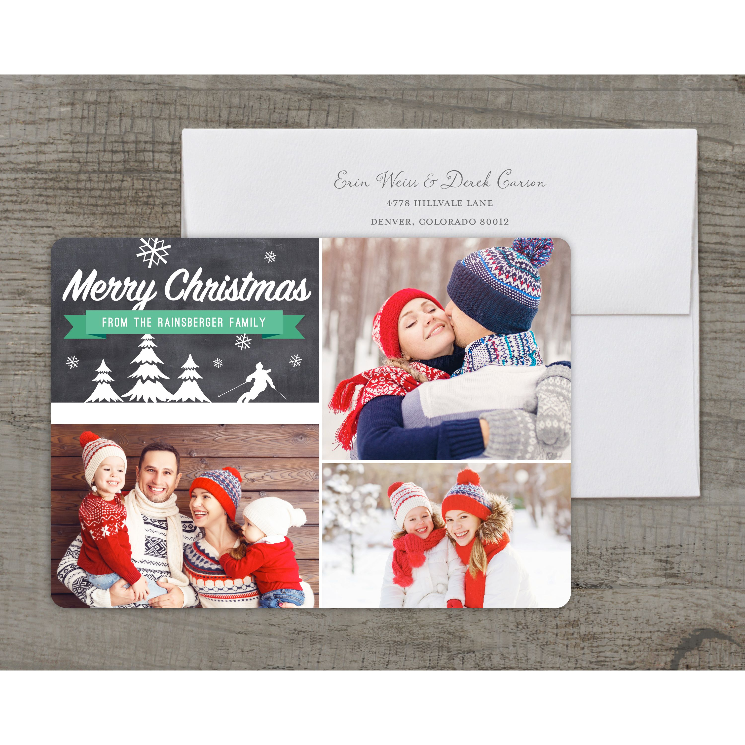 Ski Landscape - Deluxe 5x7 Personalized Holiday Christmas Card
