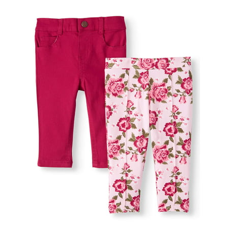 Garanimals Baby Girls French Terry & Twill Pants, 2pk French Terry Roll