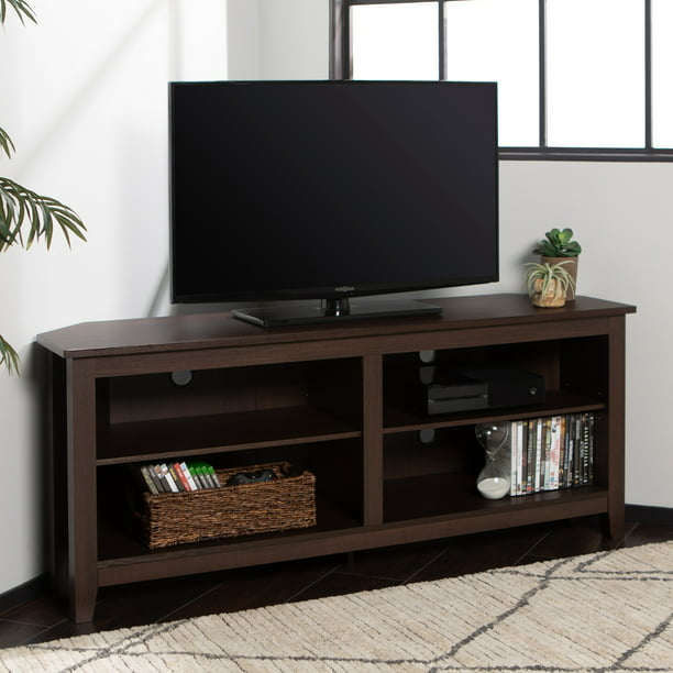 Walker Edison Corner Tv Stand Console For Tvs Up To 64 Espresso Walmart Com Walmart Com