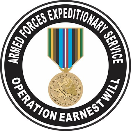 Operation Decal (Armed Forces Expeditionary Medal Operation Earnest Will 3.8 Inch Decal )