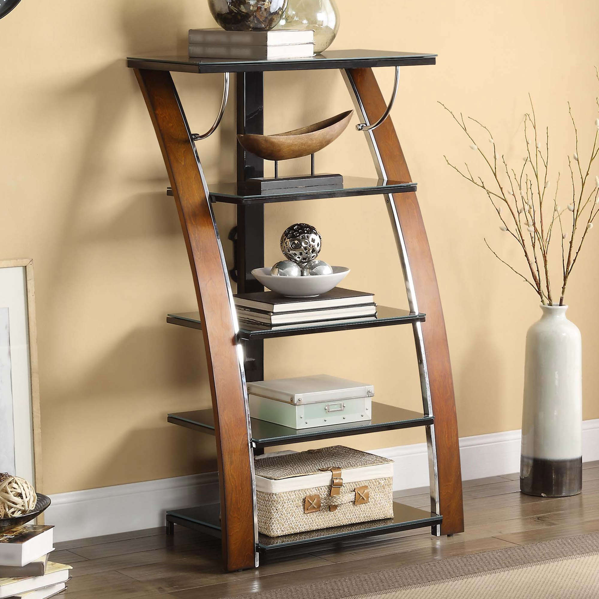 Whalen 5-Shelf Audio/Video Tower for Your Home, Brown Cherry Finish