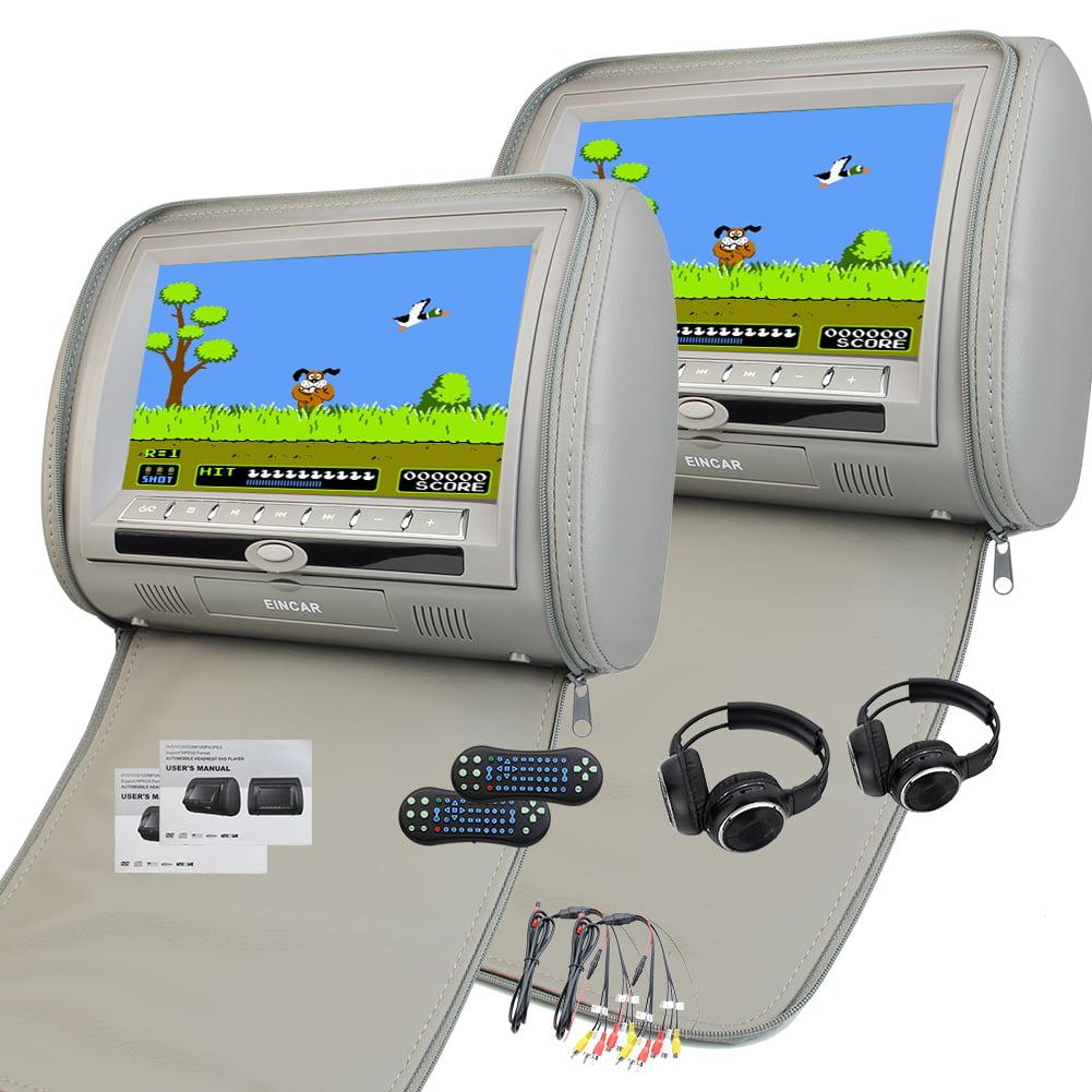 9 Inch Digital display Screen Headrest DVD Player Grey Monitor Dual Screen Car