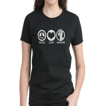 - CafePress - Peace Love Alpacas - Women's Dark T-Shirt