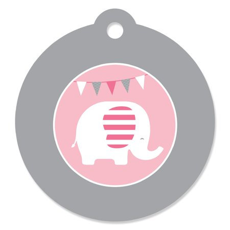 Pink Elephant - Girl Baby Shower or Birthday Party Favor Gift Tags (Set of 20) Baby Shower Favor Tags