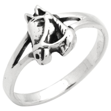 Sterling Silver Plain Simple Horse Head Ring