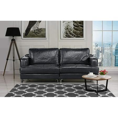 Ultra Modern Plush Leather Living Room Sofa (Black ...