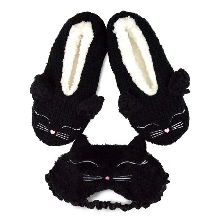 TeeHee Fun and Cozy Winter Pom Pom Slipper Shoes with Eyeshade for Women (Black)