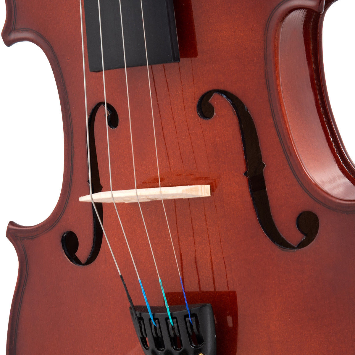 Full Size 4/4 Violin Solid Wood w/ Hard Case Bow Rosin Bridge Student Starter - image 2 de 10