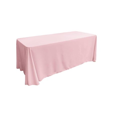 LA Linen TCpop90x132-PinkLgtP37 Polyester Poplin Rectangular Tablecloth, Light Pink - 90 x 132 in.