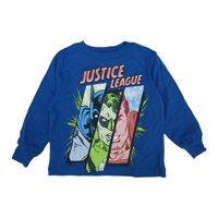 s Little Boys Royal Blue Justice League Superhero Printed Shirt 2T-5