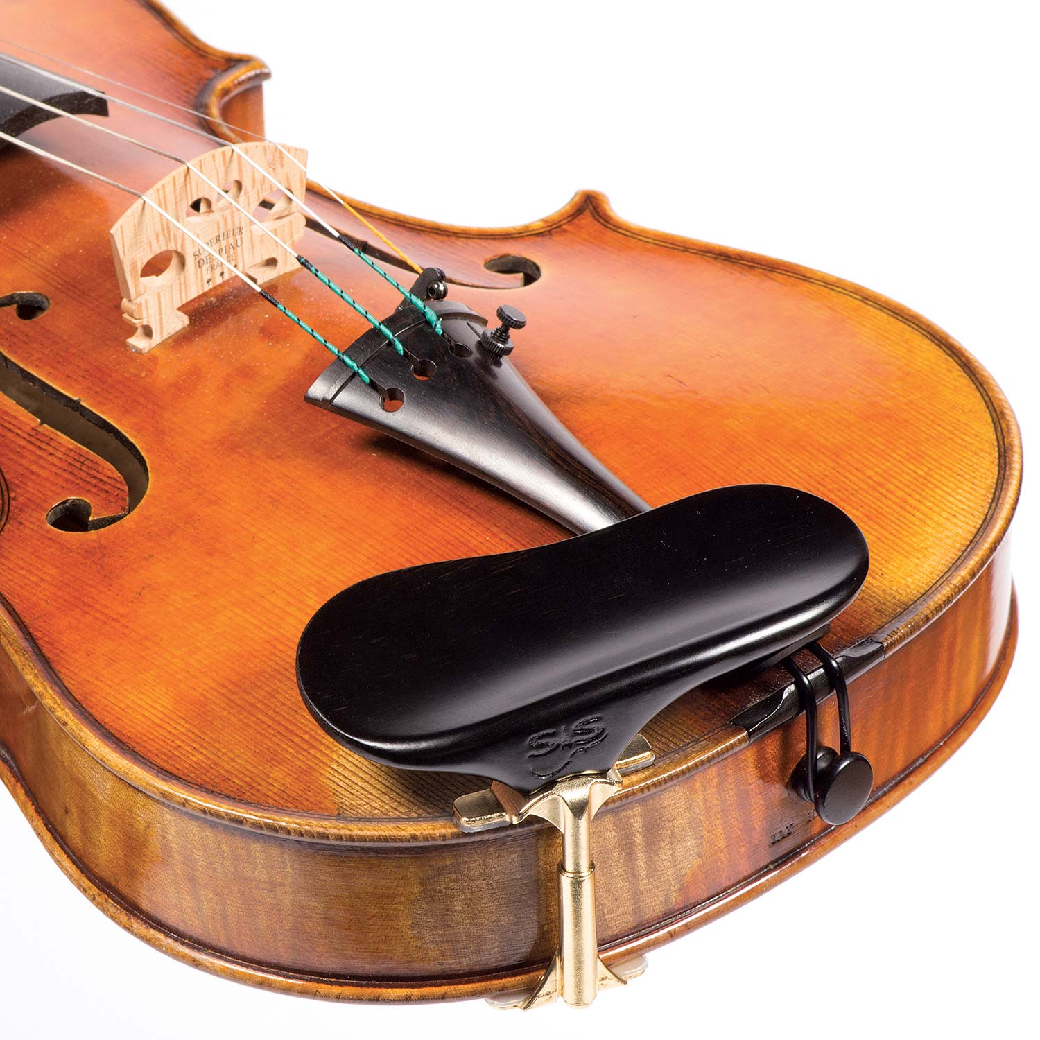 SAS Ebony Chinrest for 3/4-4/4 Violin or Viola with 24mm Plate Height and Gold-Plated Bracket