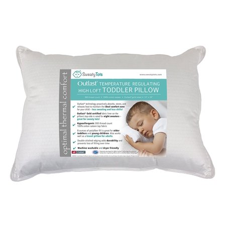 (Travel Pillow / High Loft) Toddler Pillow for Hot or Sweaty Sleepers by Sweaty Tots - 13 x 18, White, 300TC Cotton Sateen, Features Outlast(R) Temperature Regulating Technology to Reduce Overheating
