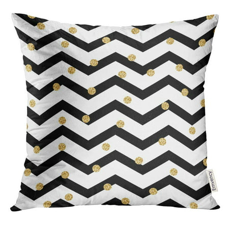 ARHOME Chevron Zigzag Black and White with Golden Shimmer Polka Dots Geometric Monochrome Stripe Spots Pillow Case 20x20 Inches Pillowcase ()