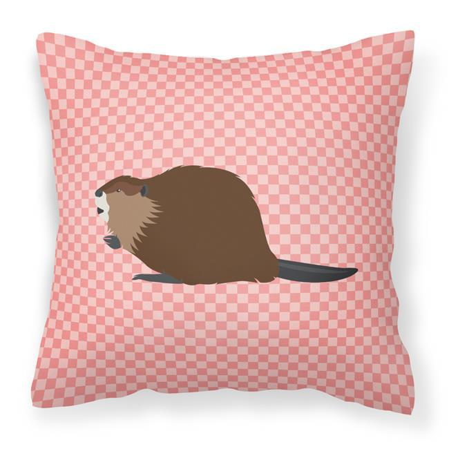 Carolines Treasures BB7873PW1414 Eurasian Beaver Pink Check Fabric Decorative Pillow, 14 x 14 in. - image 1 de 1