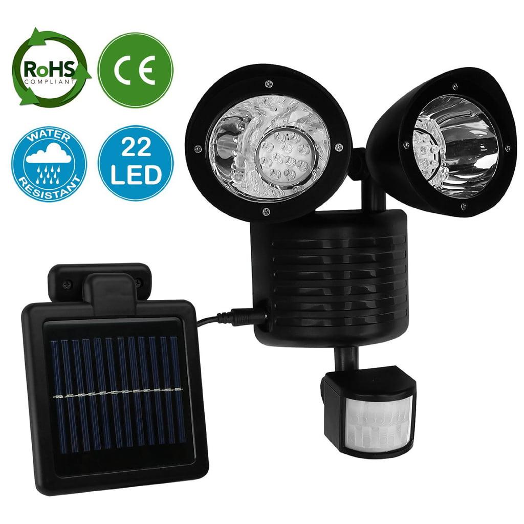 Outdoor Solar Garden Lights 22 LED Dual Head Motion Sensor Powered Garden Lights by Calves LTD
