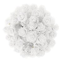 Artificial Roses with Stems- Real Touch Fake Flowers for Home Decor, Wedding, Bridal/Baby Shower, Centerpiece, More, 50 Pc Set by Pure Garden (White)