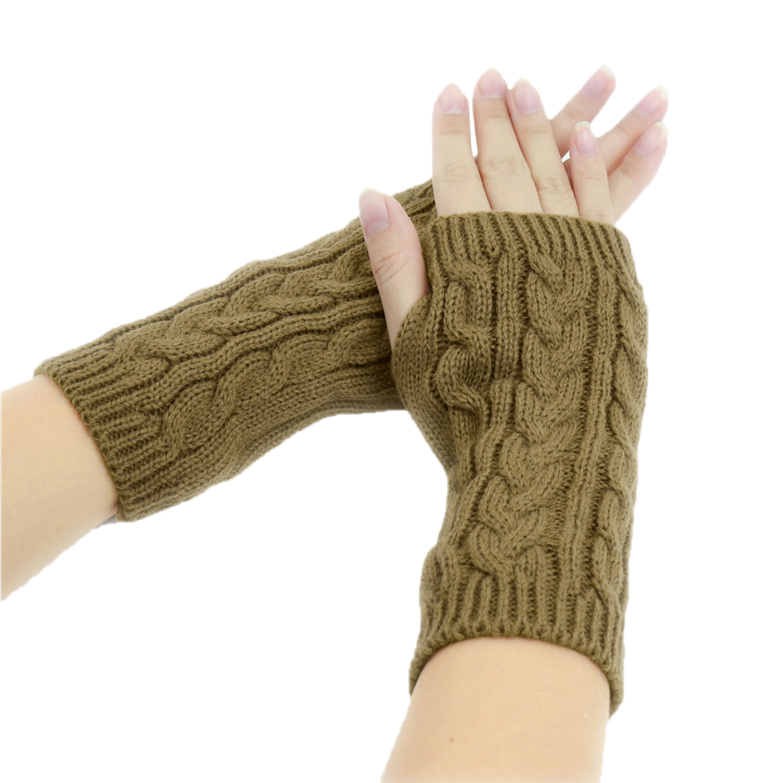 Tasharina Unisex Thumbhole Fingerless Cable Knit Knitted Gloves Brown