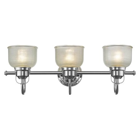 Chloe lighting lucie industrial style 3 light chrome finish bath vanity wall fixture clear for Chrome industrial bathroom lighting