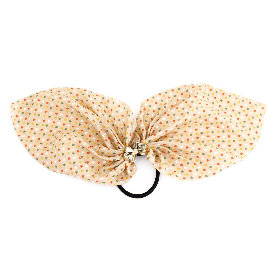 Unique Bargains Multicolored Heart Print Chiffon Accent Ponytail Holder Hair Tie Band Black Apricot Color