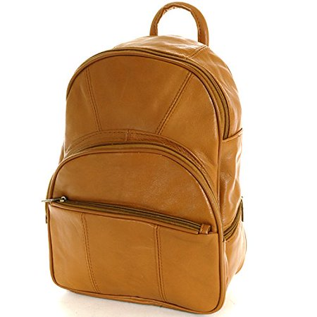 Leather Backpack Purse Mid Size & Convertible into single strap sling Bag or Backpack wearing Multiple Organizer Pockets (Light