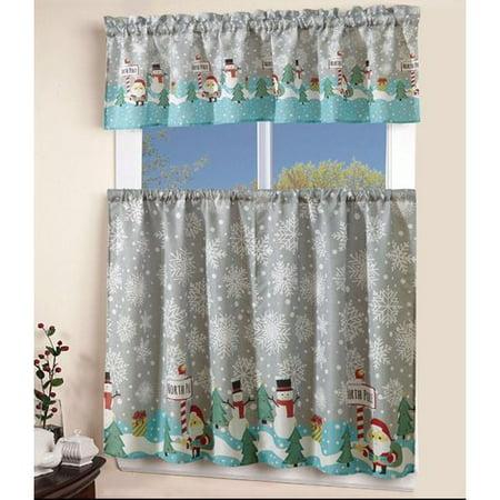 The Holiday Aisle Oswaldo 3 Piece Printed Western Santa Snowman Curtain (Western Snowman)