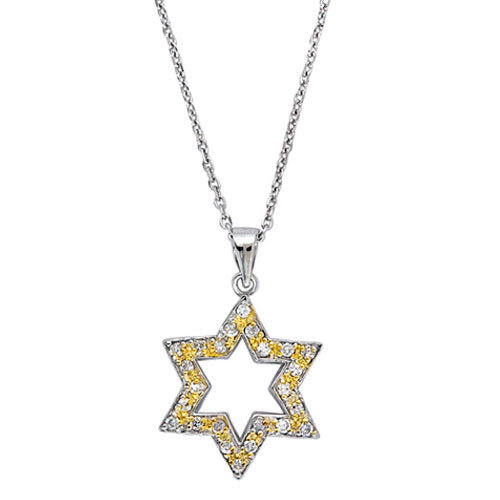CZ Collections Yellow Star of David Pendant