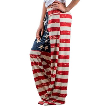 Independent Print Pants - Fancyleo Women's Loose Casual Fashion Independence Day Banner Drawstring Loose Pants