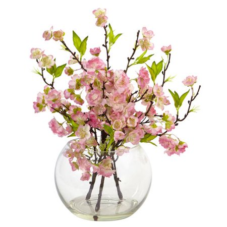 Nearly Natural Cherry Blossom Floral Arrangement in Decorative Vase - Cherry Blossom Centerpieces