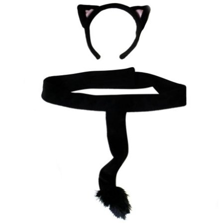Plush Black Kitty Cat Headband Ears and Tails Costume - Kitty Ears
