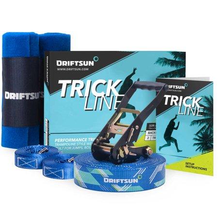 Driftsun Slackline Trick Line Complete Kit - 50FT Slacklining Trickline with Back-Up Line and Tree Guards - Diy Slackline