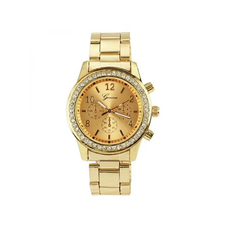 Silver Yellow Wrist Watch - Fashion Ladies Women Girl Unisex Stainless Steel Analog Quartz Wrist Watch