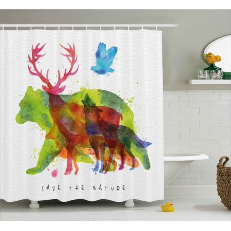 Animal Shower Curtain Alaska Wild Animals Bears Wolfs Eagles Deers In Abstract Colored Shadow Like