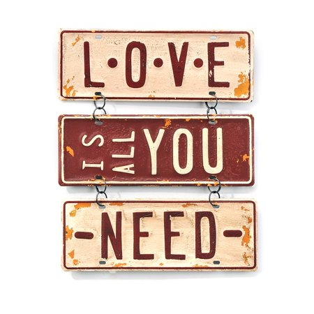 Love Is All You Need 11 Inch License Plates Metal Wall Sign Plaque