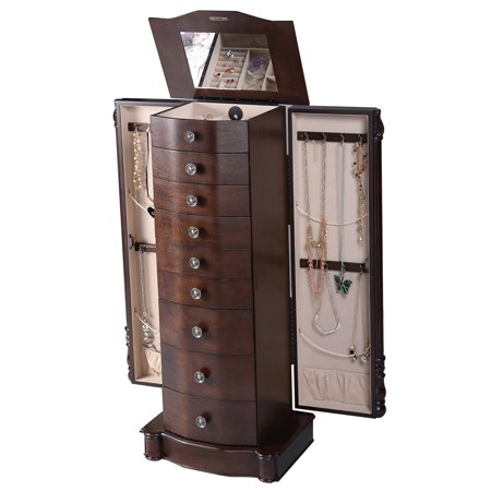 Costway Wood Jewelry Cabinet Armoire Box Storage Chest Stand Organizer (Heartwood Jewelry Boxes)