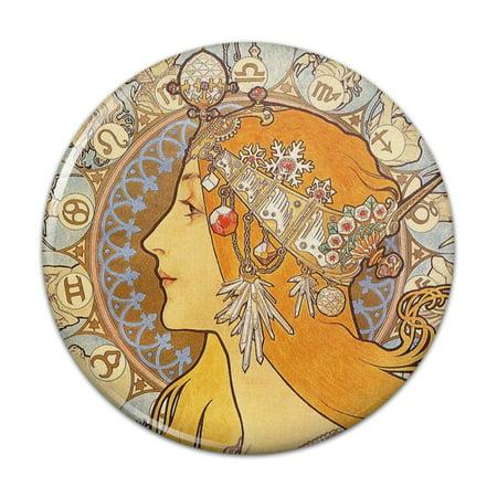 Nouveau Bag (Zodiac Alphonse Mucha Art Nouveau Compact Pocket Purse Hand Cosmetic Makeup Mirror - 2.25