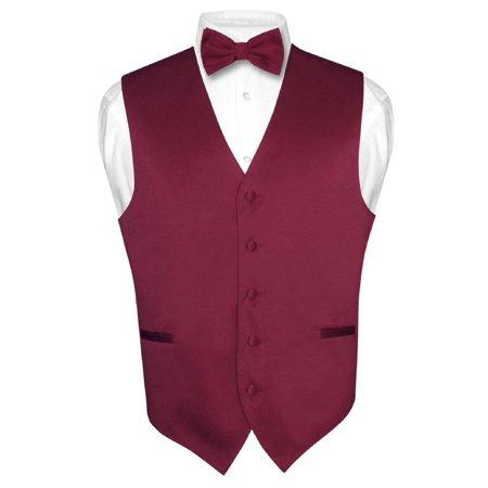 Men's Dress Vest & BowTie Solid BURGUNDY Color Bow Tie Set for Suit or Tuxedo - Red Vest And Bow Tie