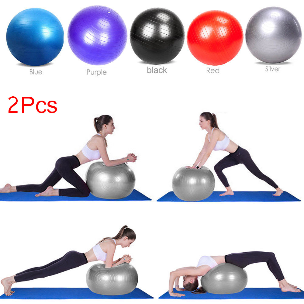 Zimtown 2PCS 55cm / 65cm / 75cm / 85cm Anti-Burst Exercise Yoga Balance Ball - Fitness Stability Training Ball with Air Pump for Pilates Workouts Weight Loss, Home Gym