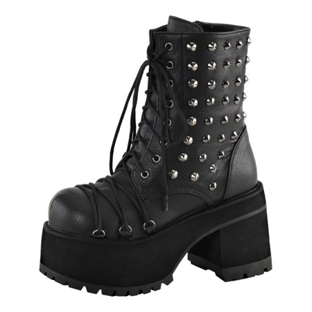 - Womens Studded Combat Boots Platform Shoes Ankle Boots Lace Up 4 Inch Heels
