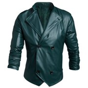 Men's Convertible Collar Long Sleeve Casual Imitation Leather Jacket (Size M / 40)