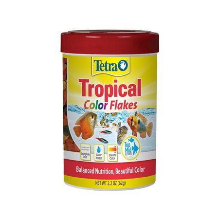 Green Tropical Fish ((3 Pack) Tetra TetraColor Tropical Fish Food Flakes, 2.2 Ounce)