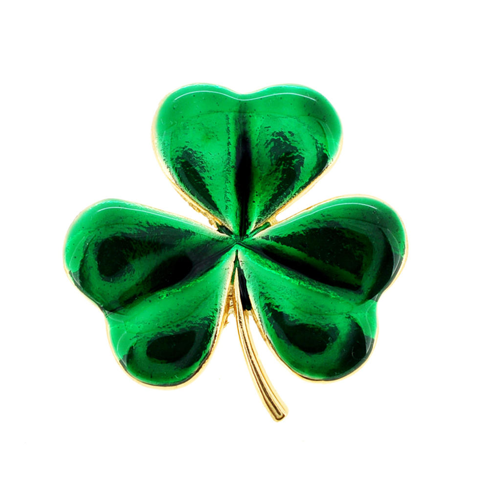 Green Lucky 3 Leaf Clover Flower Pin Brooch by
