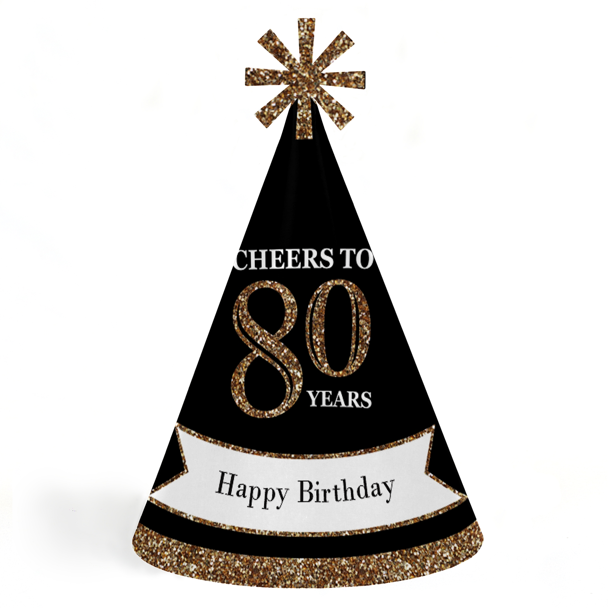 Adults 80th Birthday - Gold - Cone Birthday Party Hats for Kids and Adults - Set of 8 (Standard Size)