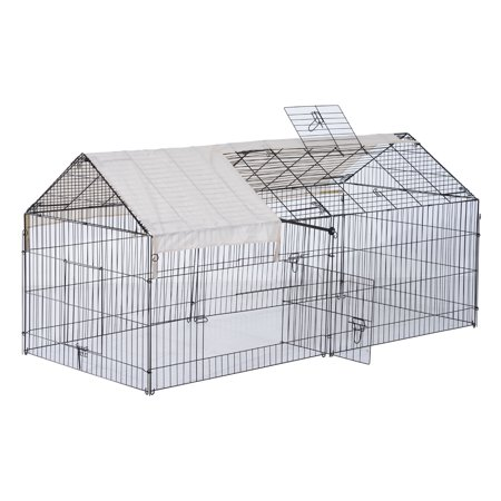 Pawhut Metal Outdoor Small Animal Enclosure with Protective Cover