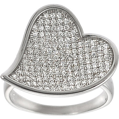 Brinley Co. Pave-Set CZ Heart Ring in Sterling Silver