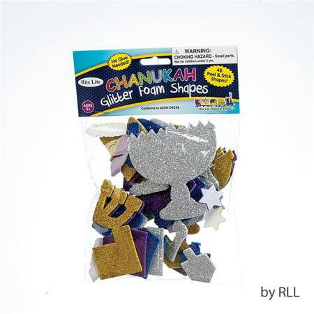 Rite Lite TYK-FOAM-HAN Chanukah Peel & Stick Glitter Foam Shapes, Multi, -