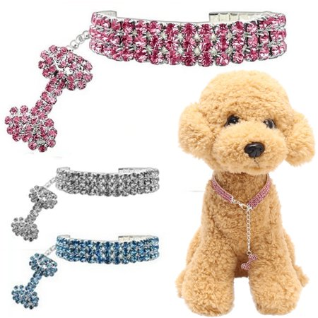 Crystal Pet Collar Charm (3 Rows Bling Rhinestone Dog Necklace Collar Crystal &Pendant Pet Puppy Accessory )