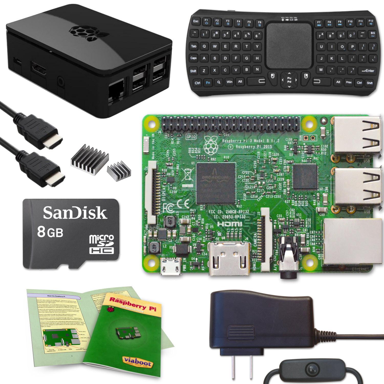 Viaboot Raspberry Pi 3 Keyboard (Bluetooth Edition) Kit with Premium Black Case